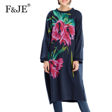 Buy F&je New 2017 Spring Women's Retro Printed Large Size Long Dress Femme Casual Loose Clothing Women Plus Size Loose Dresses J001 for $22.39 in AliExpress store