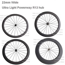 Super light Powerway R13 hub carbon bicycle wheelset, 24/38/50/60/88mm depth 23mm width clincher or tubular carbon wheels(China (Mainland))
