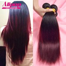 Buy Ombre Brazilian Hair 7A Brazilian Virgin Hair Straight Ombre Human Hair 3 Bundle Deals Burgundy Brazilian Hair Weave Bundlles for $108.50 in AliExpress store