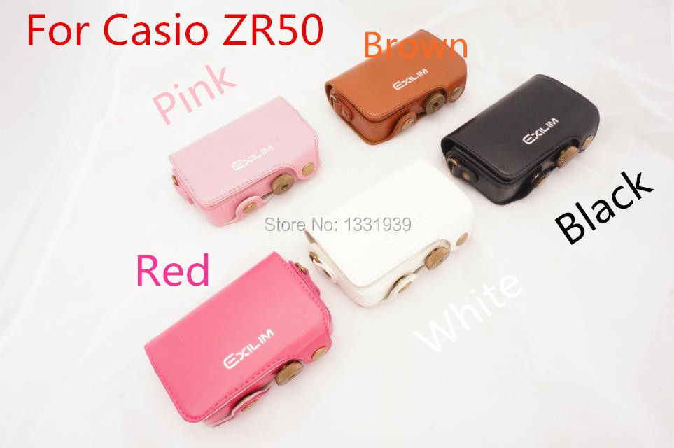 100 NEW Camera PU Leather case Camera bag cover for Casio ZR50 with strap 5 colors