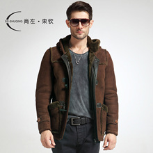 2013 berber fleece with a hood fur one piece genuine leather clothing male medium-long 2229(China (Mainland))