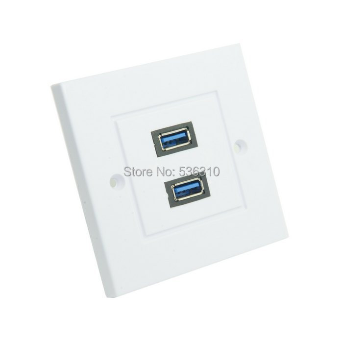 Dual Ports USB 3.0 Data Charger Wall Face Plate Panel Dock Station 86mm Square Type(China (Mainland))