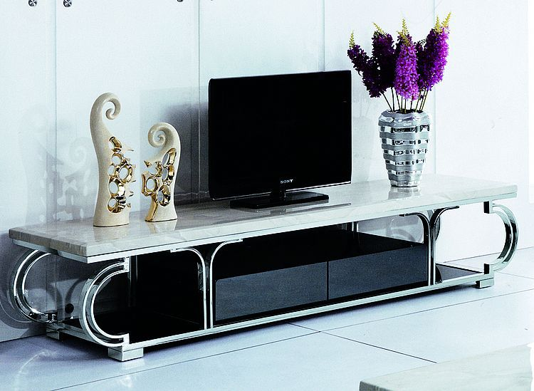 high quality Tv stand Tv table living room furniture stainless steel with marble top Tv table home furniture E144(China (Mainland))
