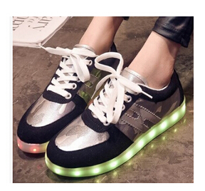 BIG size 35-42, boys girls children LED sneakers , chaussure enfant charging USB lasting seven colourful, KIDS run shoes