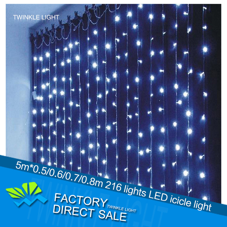 LED curtain icicle string light 220V 4m*0.5/0.6/0.7/0.8m 216 LED party decorative light holiday Christmas light free shipping(China (Mainland))
