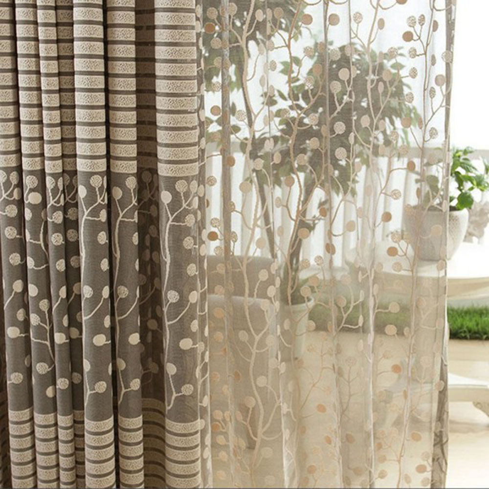 Jacquard flower pattern net curtains for window elegant for Door net curtains