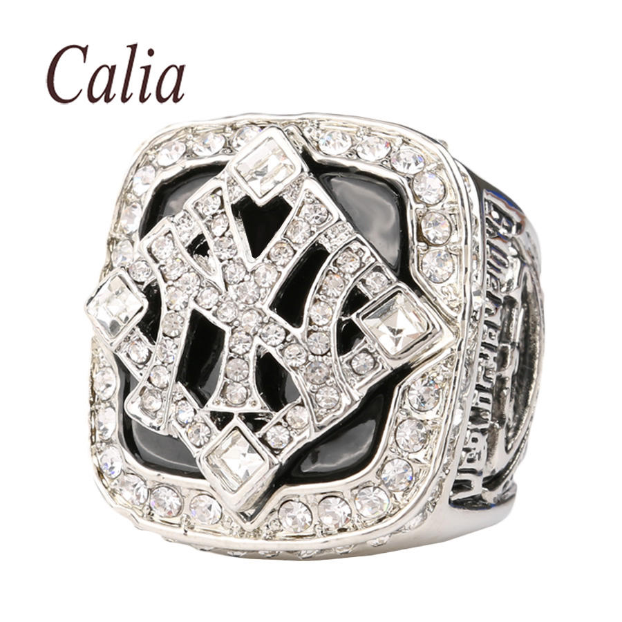 Personality Hot Fine Jewelry Black Enamel Crystal To Commemorate 2009 Professional Baseball The Yankees Super Bowl Champion Ring(China (Mainland))