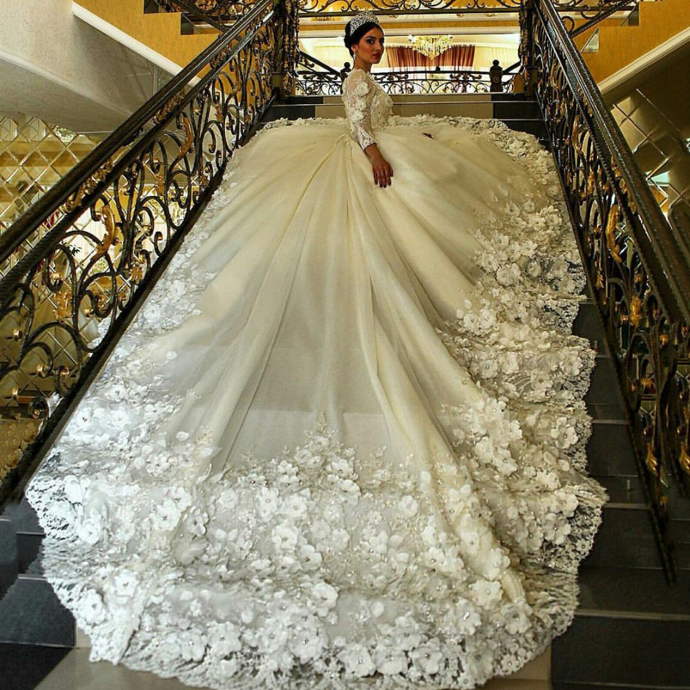 Robe De Marriage 2017 Muslim Princess Luxury Wedding Dresses Long Sleeve Cathedral Jewel Beaded Flowers Applique Bridal Gowns(China (Mainland))