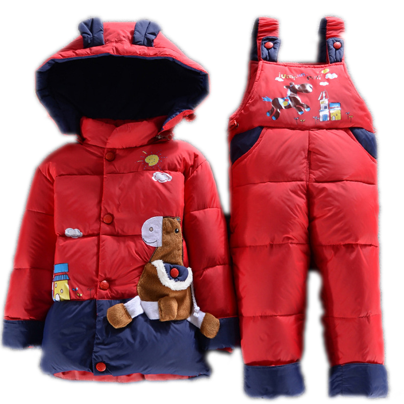 NEW 2015 toddler winter coat clothes sets duck down jacket sets pants-jacket hooded baby girls winter jacket &amp; coat Pony pattern<br><br>Aliexpress