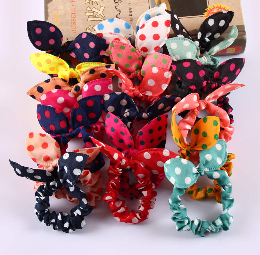 8Pcs/Lot Mix Style Clips For Hair band Polka dot leopard trip hair rope Rabbit Ears scrunchy Hair tie Baby hair accessories(China (Mainland))