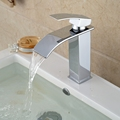 Free Shipping Wholesale And Retail Promotion Polished Chrome Brass Waterfall Bathroom Basin Faucet Square Vanity Sink