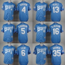 Kansas City Royals 1985 Turn Back The Clock Jersey 4 Gordon 5 B.Robinson 6 Cain 13 Perez 35 Eric Hosmer 16 Bo Jackson Jersey(China (Mainland))