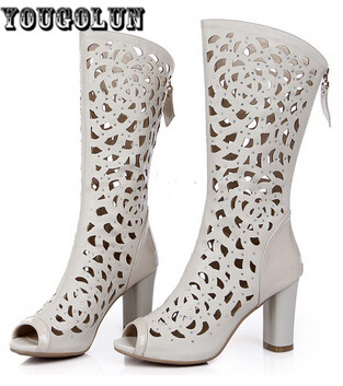 2015 Women Sandals Knee High Women Summer Boots Sexy Peep Toe Sandal