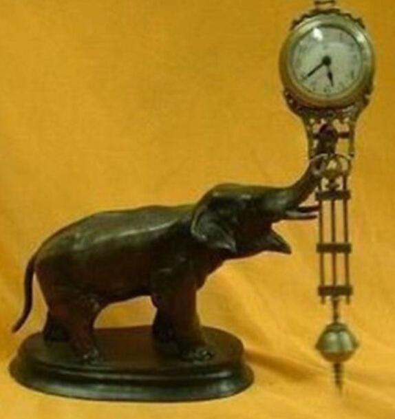 Beautiful pendulum clock bronze elephant statue(China (Mainland))