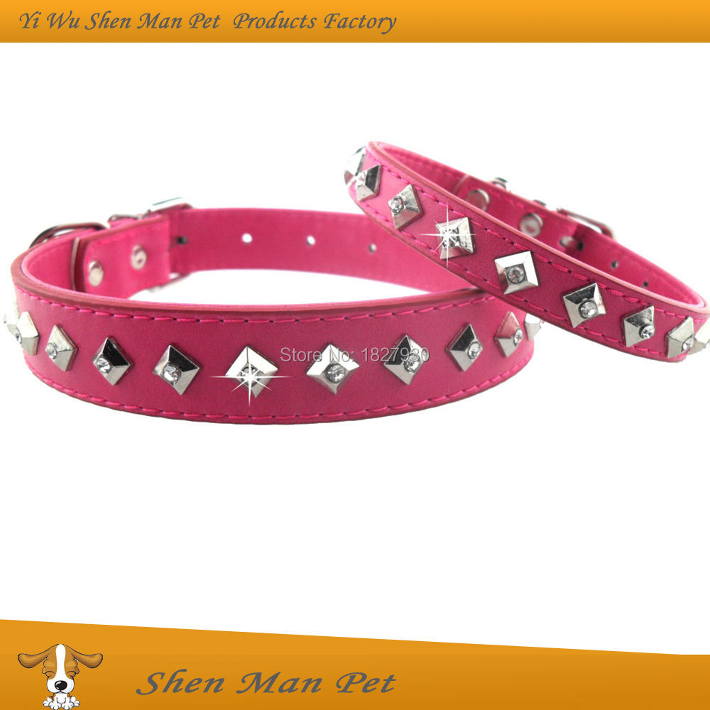 Wholesales S L Rose Bling Fashion Charms Square Alloy Rivet Rhinestone Adjustable PU Leather Pet Dog Collars for Dogs(China (Mainland))