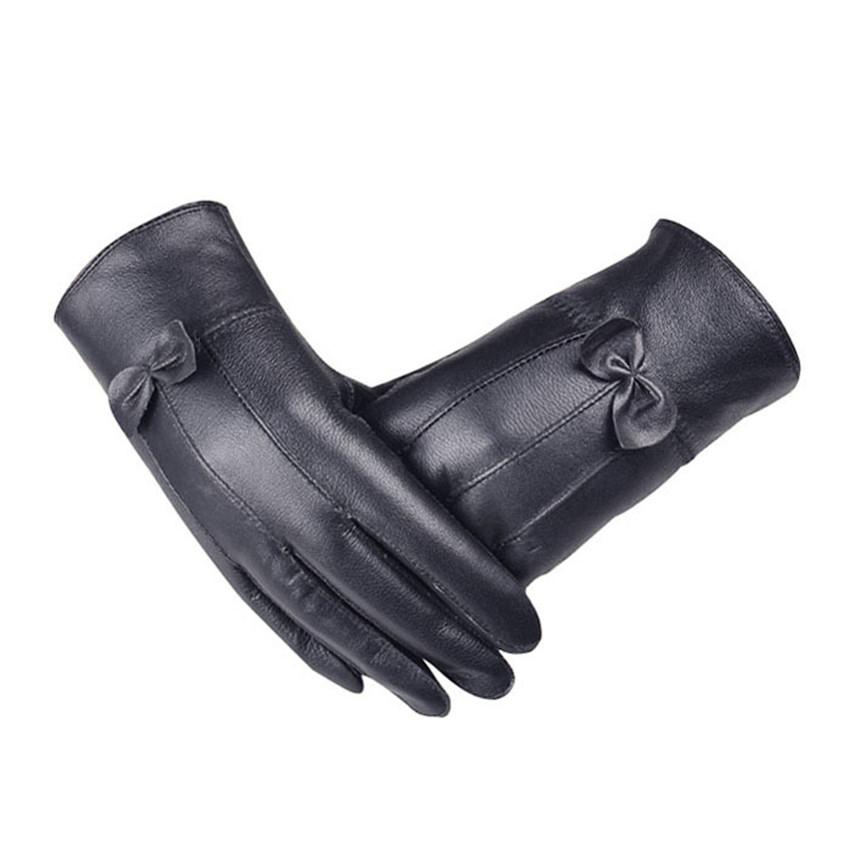 New Girl Luxurious Leather Super Warm Winter Gloves Women Cashmere Bow JecksionОдежда и ак�е��уары<br><br><br>Aliexpress