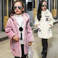2016 winter new fashion kids Children clothing baby girls princess coat with a hood woolen overcoat