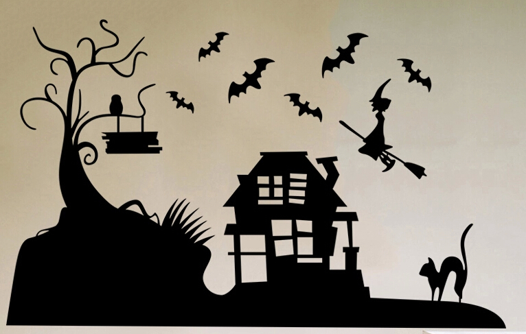 Creative wall stickers Halloween Ghost festival holiday The bat pumpkin stickers(China (Mainland))