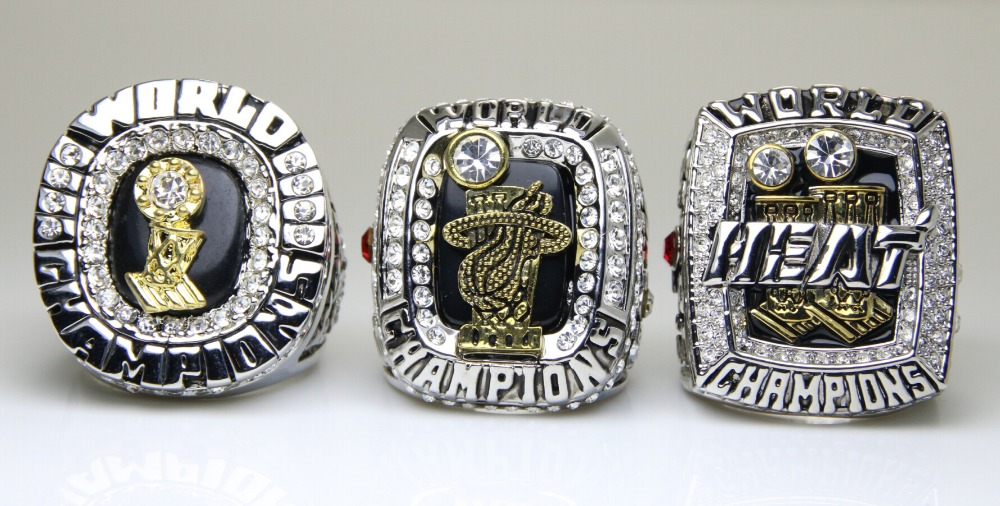 One Set 3 PCS 2006 2012 2013 Miami Heat Basketball Championship ring size 10 US in stock James or Wade name choose(China (Mainland))