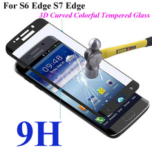 3D Curved Full Cover 2.5D 9H Tempered Glass Screen Protector Film Phone Cases For Samsung For Galaxy S6 Edge G9250 S7 Edge G9350(China (Mainland))
