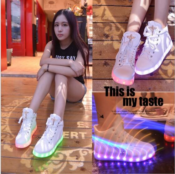 Chaussure Lumineuse Led 2015 Casual Shoes Women & Men Fashion Adult LED Lights USB Shoe