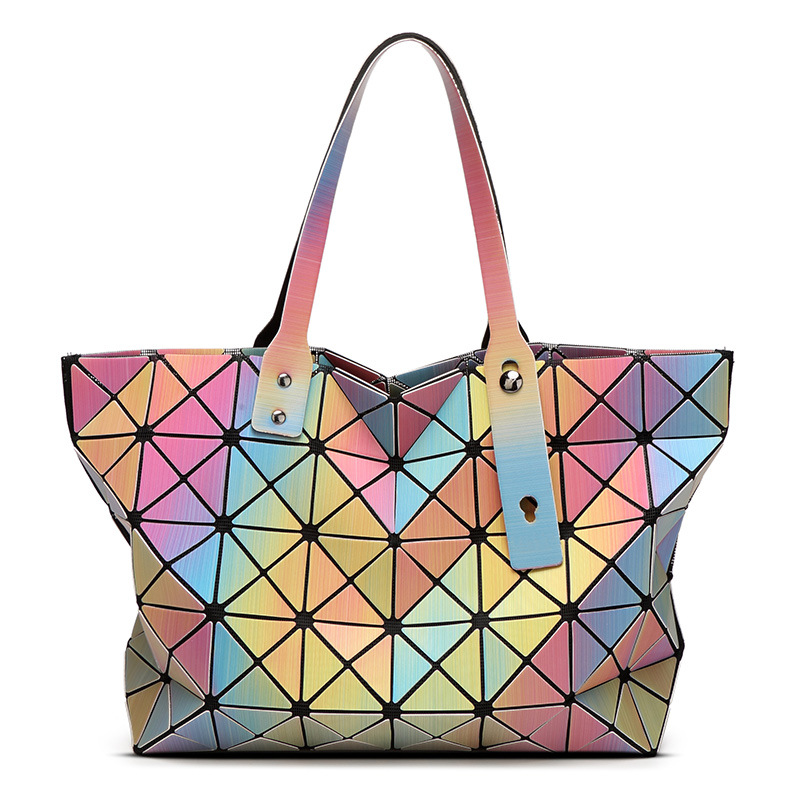 Laser BaoBao Women Dazzle Color Plaid Tote Casual Bags Female Fashion Fold Over Handbags Lady Sequins Mirror Saser Bag Bolsa(China (Mainland))