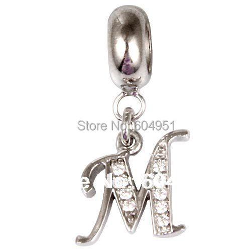 1PCS/lot 925 Sterling Silver Dangle Alphabet M Beads with CZ Stone Fits European DIY Bracelets Jewelry(China (Mainland))