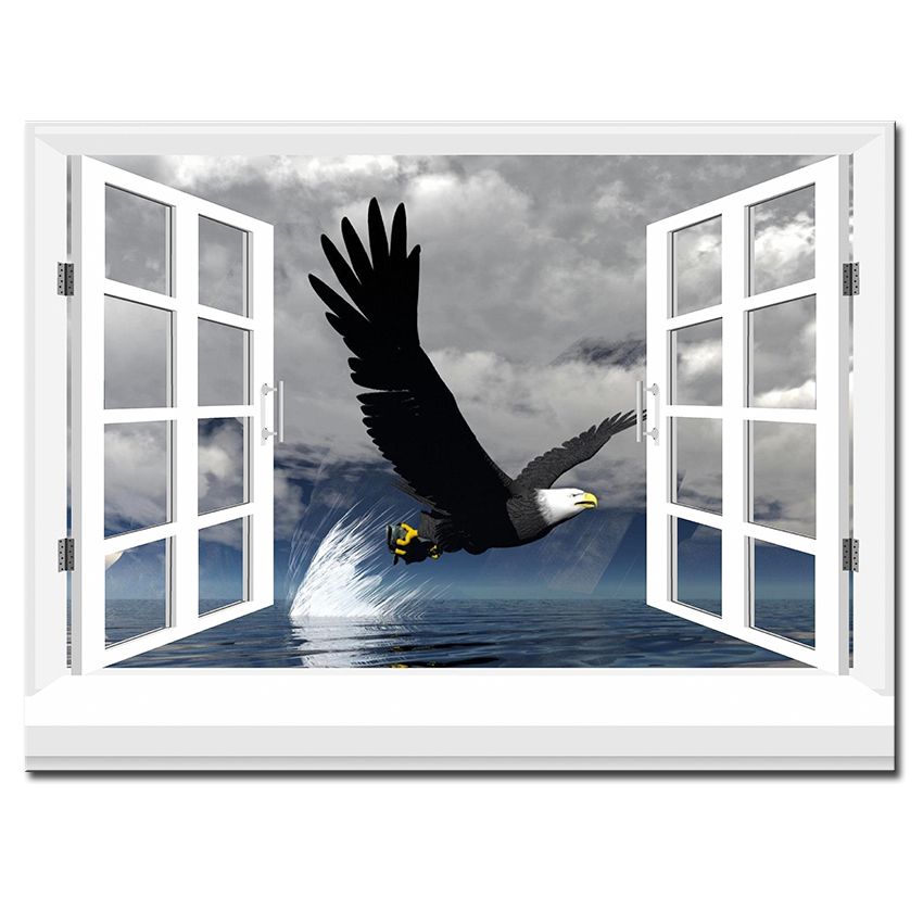 3d effective windows eagle wall painting pictures home for Eagle windows
