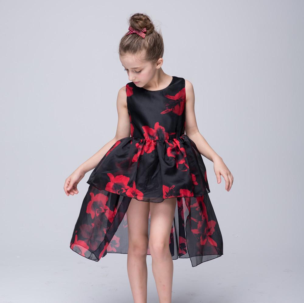 3-8T Graduation Dresses Kids Junior Girls Red Flower Printed Black Mesh Princess Dress O-Neck Sleeveless Pageant Evening Gowns(China (Mainland))