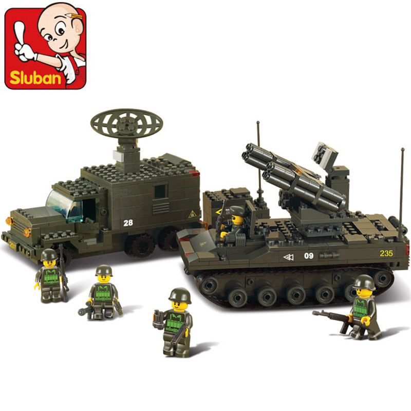 Sluban Army Tank plastic Radar Vehicle Building Blocks Sets Prowl Car Children Toys Model Kits Military(China (Mainland))