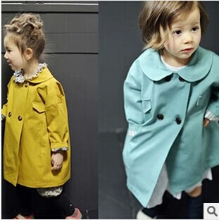 2014 new fashion Korea style girl boutique doll collar loose trench baby girls double-breasted pocket jacket outwear 3 color - My princess store