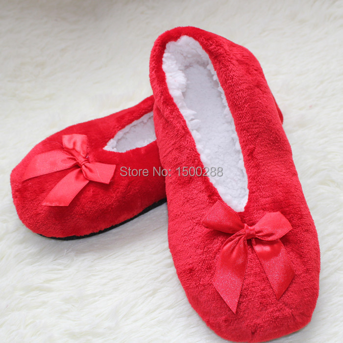 free shipping 2014 new womens super-soft home indoor slippers, bow decoration floor slippers Free Size 36-41<br><br>Aliexpress