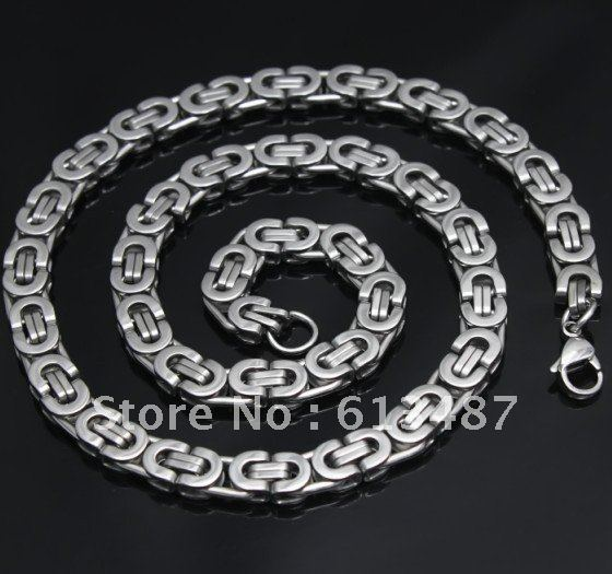 Mix Order+Hot Sale Fashion Jewelry Strong Sainless Steel Flat Charming Men's Chain Necklace 60cm*8mm*73g Free Shipping(China (Mainland))