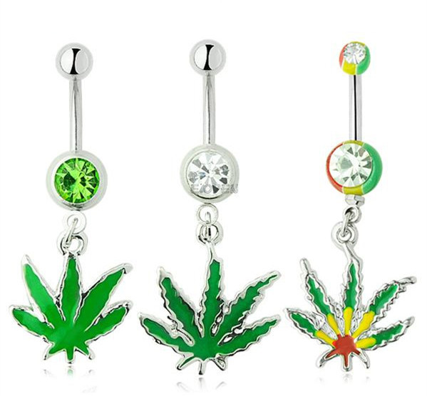 Sexy Rhinestone Ball Green Leaf Medical Stainless Steel Piercing Belly Button Rings Body Piercing Navel Jewelry