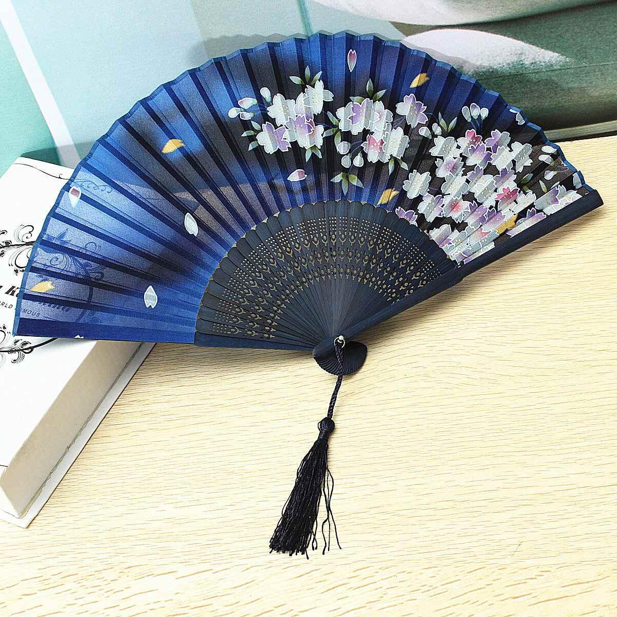 Wedding Fan Bamboo Silk Folding Held Bridal Party Dancing Fans Flower Dark Blue Elegant Hand Fans Supplies(China (Mainland))
