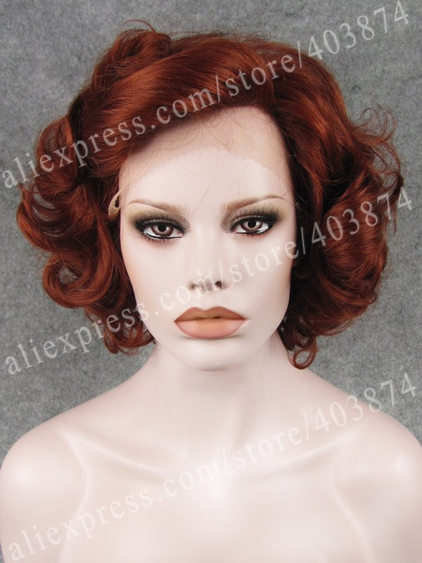 Free Shipping Promotion N24-350 8inch/20cm Elegant Auburn Color Short Curly  Synthetic Lace Front Wigs<br><br>Aliexpress
