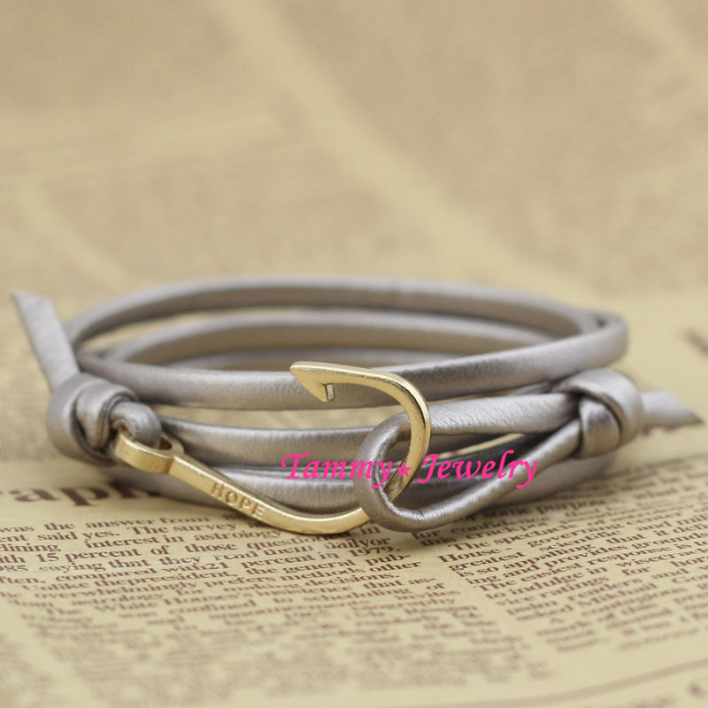 MYLB0213 Fashion Jewelry Hot Sale New Design Gold Fish Hooks Bijoux Anchor Women Bracelet Men Bangle