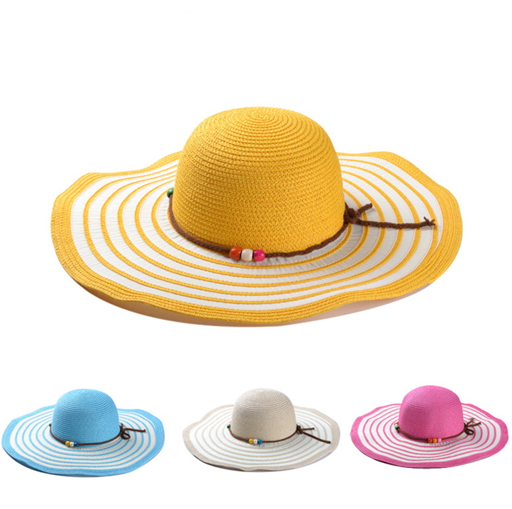 2014 New Arrival Fashion Large Brimmed Straw Hats Beaded Concentric Striped Summer Sun Hats Beach Hat Lady Girl Visor a hat A155(China (Mainland))