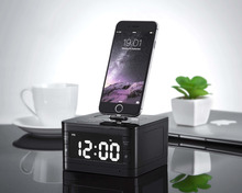 T7 8 Pin Charger Dock Station Fm Radio Alarm Clock Portable Audio Music Wireless Bluetooth Speaker for iPhone SE 5S 5C 6 6s Plus