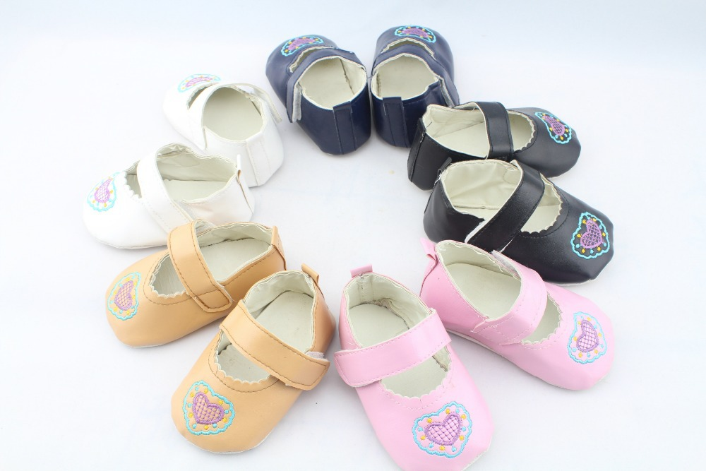 5 Color Newborn Baby/Infant/Toddler First Walker/Girl Princess Shoes PU leather/Velcro/Soft Sole Heart  0-12M Sapatos Infantil(China (Mainland))