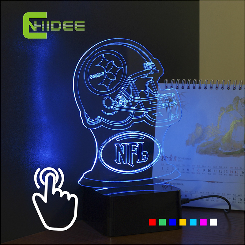 7 Colors Lampara Futbol USB Novelty Pittsburgh Soccer Helmet RGB LED Night Light 3D Table Lamp Creative Home Decor NightLight(China (Mainland))