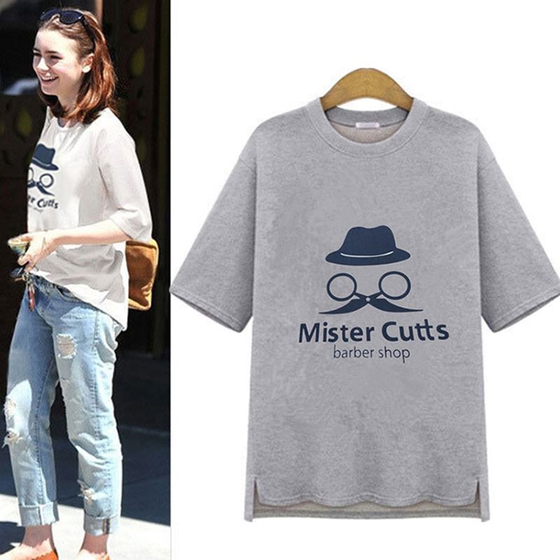Barber Print Camisetas Mujer Hi-lo T-shirt Women 2016 Summer Style Top Short Sleeve Casual Tee Shirt Femme Loose T Shirt C304(China (Mainland))