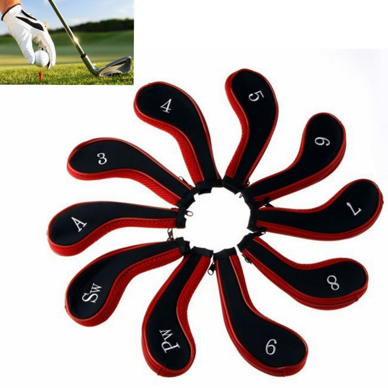 10pcs/set Hot Sale Washable Sleeve Neoprene <font><b>Golf</b></font> Club Iron Putter Headcovers Head Cover Protect Case for Pocket Red Black