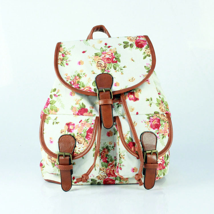 Stylish Retro Leisure Women Backpack Printing Floral Vintage Backpack For Teenagers Girls/Boy School Sports Bags Travel Carrying(China (Mainland))