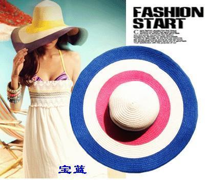 The summer sun hat brim along travel big straw hat Korean Rainbow Beach Hat female sunshade hat(China (Mainland))