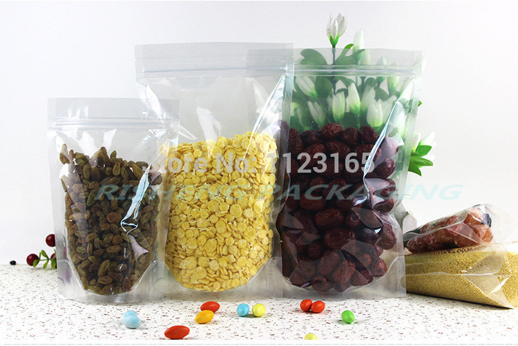 24*37cm,100pcs X Stand up high Transparency PET plastic ZipLock Bags resealable, All Clear packing pouches zipper clip Reusable(China (Mainland))