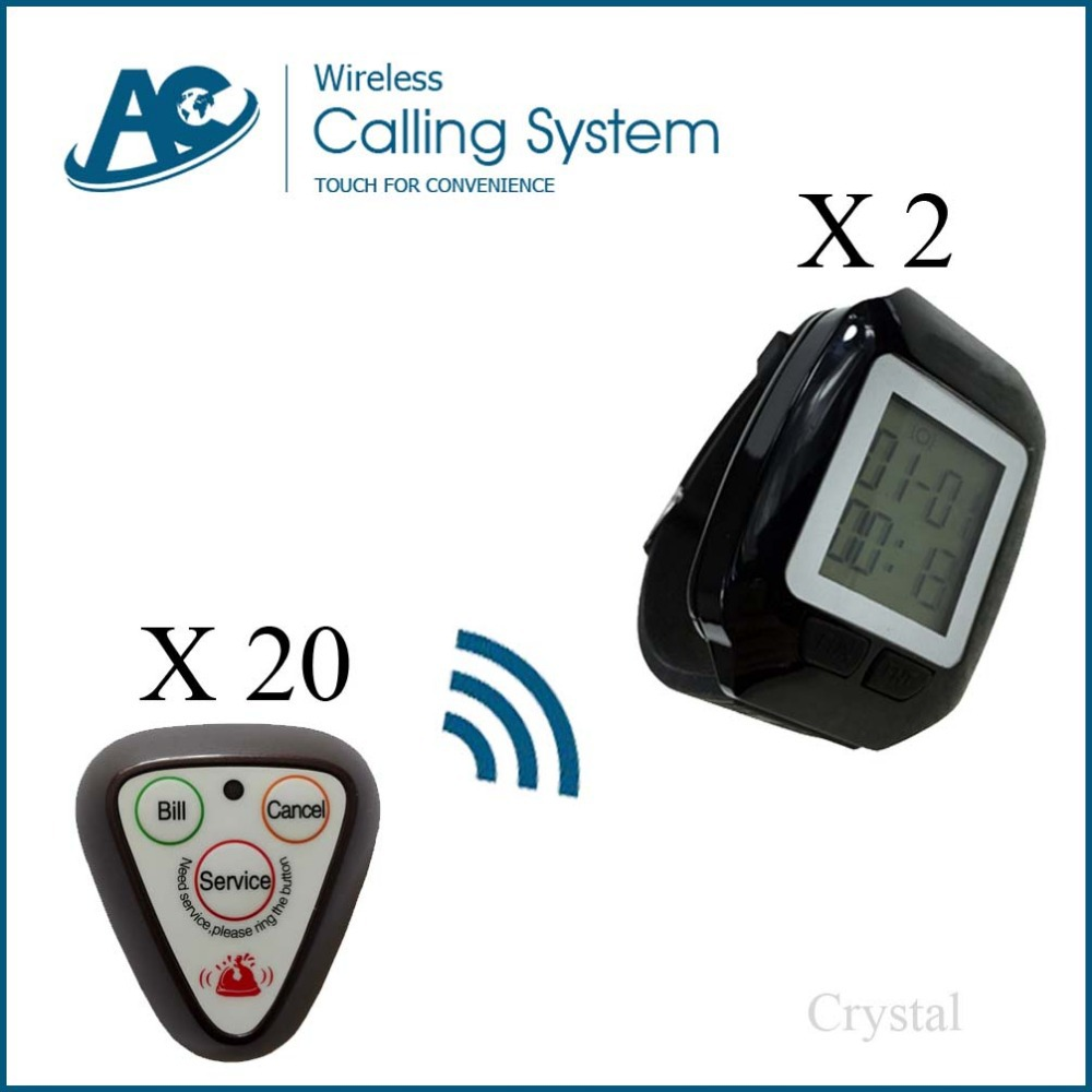 20call button+2 watches wireless waiter service waiter restaurant electronic remote digital office hotel table service call bell(China (Mainland))