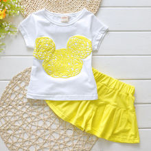 2016 New Cute Girls Kids Clothes Sets Outfits Toddler Kids Minnie Mouse T-shirt + Shorts 2pcs Cartoon Clothing Set 2-7 Years(China (Mainland))
