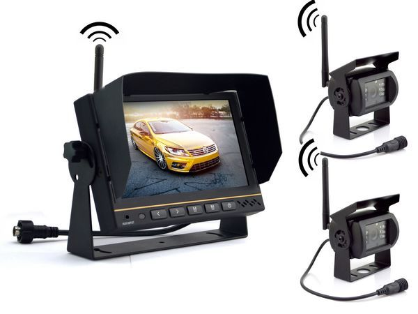 Free Shipping 7inch bus truck car wireless back up camera system with REC function 100M transmission support 4 wireless cam(China (Mainland))