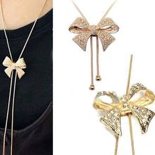 1PCS Hot Gold Long Chain Bowknot Rhinestone Necklace Sweater Chain for Women Girl Lady Free Shipping(China (Mainland))